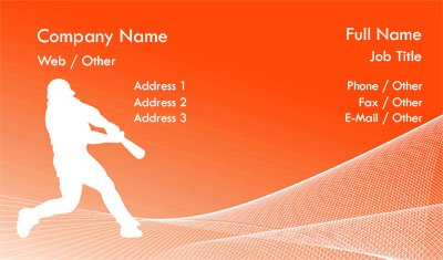 Orange Baseball Business Card Template